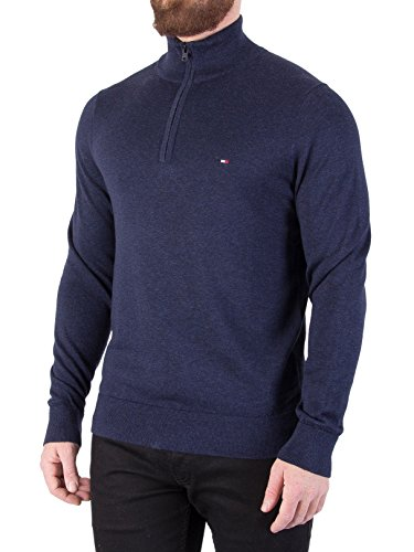 Tommy Hilfiger Men's Cotton Silk Zip Knit, Blue, X-Large by Tommy Hilfiger