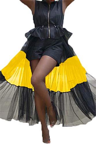 LROSEY Women Jackets Dress Sleeveless Zipper Ruffle Sheer Mesh Patchwork Lightweight Bomber Tutu Jacket Outwear