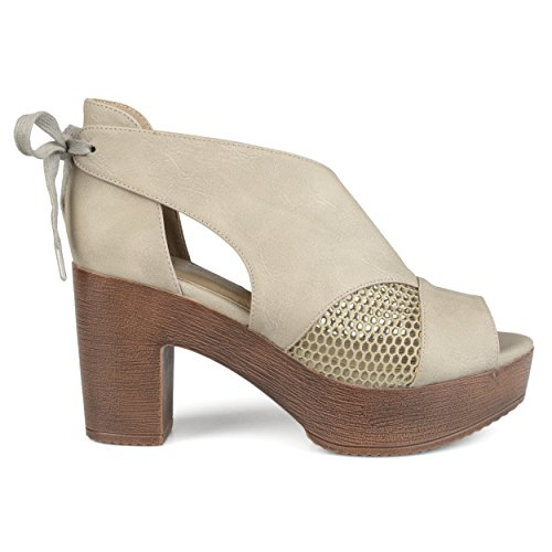 Brinley Co. Womens Faux Leather Tie Back Open-Toe Heeled Platform Clogs Grey, 7.5 Regular US ()