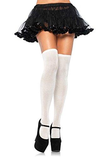 Leg Avenue Women's Lurex Glitter Thigh Highs, Silver, One - Glitter Leg Avenue