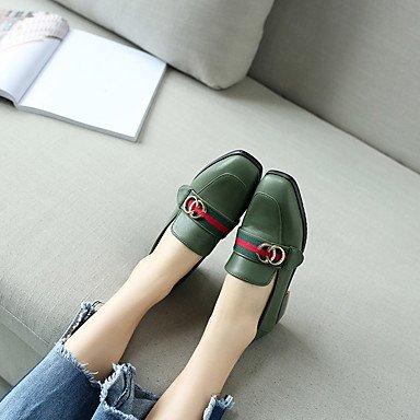 Cómodo y elegante soporte de zapatos de las mujeres pisos boda de piel sintética luz de otros soles de primavera verano otoño al aire libre oficina y carrera vestido de fiesta y noche Athletic Casual verde