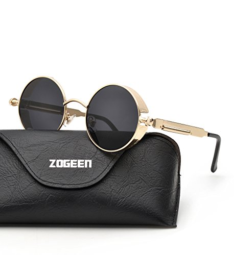 ZOGEEN Polarized Steampunk Round Sunglasses for Men Women Mirrored Lens Metal Frame S2671 - Frame Square Best Face Shape Glasses For