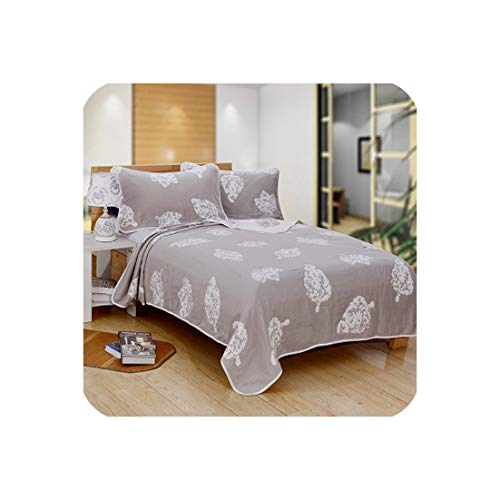 Nice warm-Bedspread Plant Leaves 6 Layers Gauze Cotton Air Condition Summer Quilt Super Soft Bedding Blanket Throw Quilting for Adults Kids,150X200Cm,A