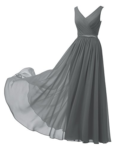 Alicepub V-Neck Chiffon Bridesmaid Dress Long Party Prom Evening Dress Sleeveless, Steel Grey, US8]()