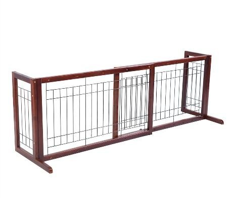 Wood Dog Gate Adjustable Indoor Solid Construction Pet Fence Playpen Free Stand - Section Corner Stand