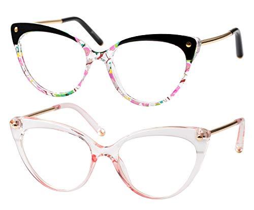 SOOLALA Ladies Oversized Cat Eye Reading Glass Modern Eyeglass Frame, PinkFloral, 2.0