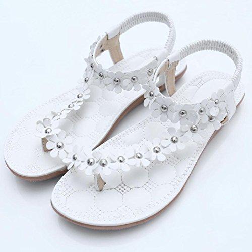 d'été Sucrées Mode Blanc Bohème Femmes Sandales Perlées Sandales Clips Sandales Chaussures Chevrons Toe Amlaiworld Sandales Sandales w1qUH8T