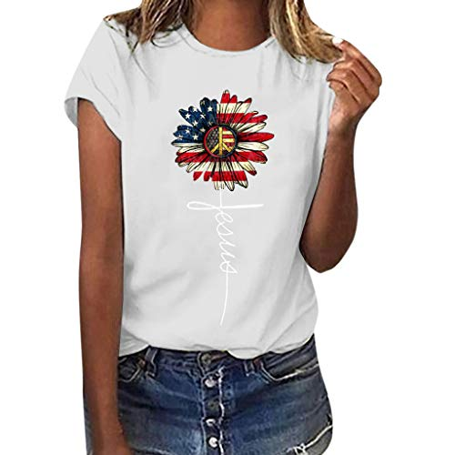 Shusuen Sunflower Tees Letter Graphic T Shirt Women's American Flag Star Shirt Tops Patriotic 4th of July Tshirt White