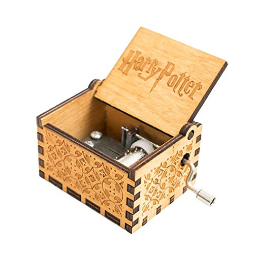 (Detailorpin Retro-Style Wooden Hand-Carved Square Hand Shake Music Box Boxes & Figurines Gift for Kids)