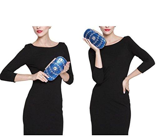 Blue Womens Sac Sacs De Soirée Main De en Bags Sacs Sacs à Mariage Diamants De Clutch Mariée ArAqa