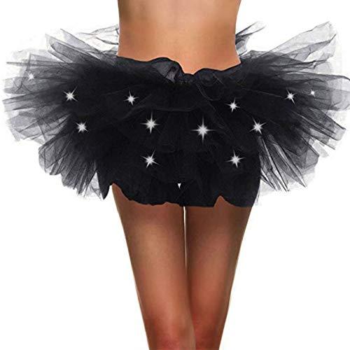 8b2a85b187b Naokenu Women Classic 5 Layered Tulle Tutu Skirt Led Light Up Neon ...