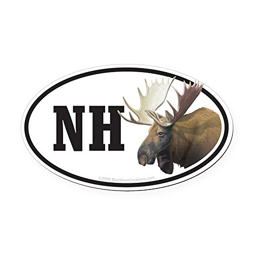 CafePress - NH New Hampshire Moose Bumper Oval Car Magnet Deca - Oval Car Magnet, Euro Oval Magnetic Bumper Sticker