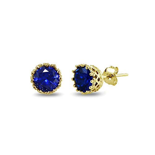 Yellow Gold Flashed Sterling Silver Created Blue Sapphire Crown Stud Earrings (Amethyst Sapphire Stud)