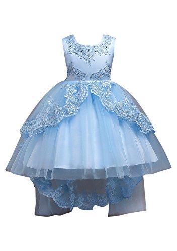 EFOFEI Girls Party Hi Low Dress Tulle Layered Lace Dress Tutu Cute Dress,Light Blue,10-11T -