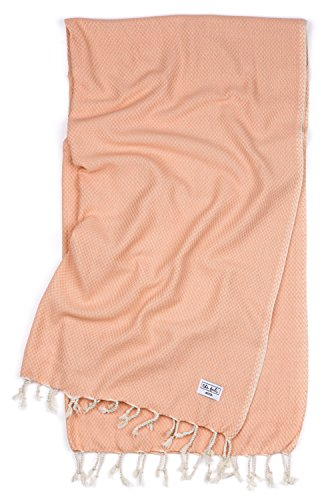 The Bali Market Waffle Weave Turkish Bath and Beach Towel, Plush and Absorbent, Ideal for Babies and Kids, Peshtemal, Fouta for Travel, Beach, Bath, Yoga, 100% Turkish Cotton, (Melon)