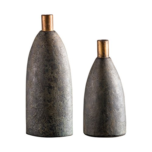 Rustic Charcoal Gray Terra Cotta Vase Set 2 | Bottle Textured Copper Modern