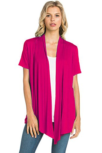 12 Ami Basic Solid Short Sleeve Open Front Cardigan Fuchsia Pink 3X