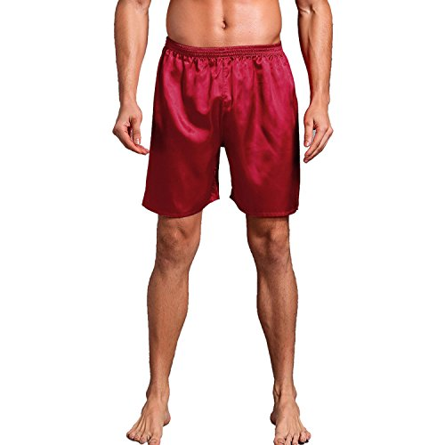 - Admireme Mens Satin Boxer Shorts Silk Pajamas Shorts Sleepwear Boxers Underwear Beach Shorts Wine Red