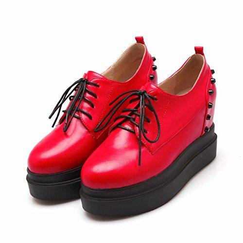 Carolbar Womens Rivet Lace up Studded Popular Platform Wedge Hidden Heel Oxfords Shoes Red WxWoq6q