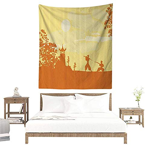 (Wall Tapestries Hippie,Japanese,Silhouette of Two Ninja Figures in Front of Temple at Sunset Sakura Pattern,Yellow Orange W57 x L74 inch Tapestry Wallpaper Home Decor)