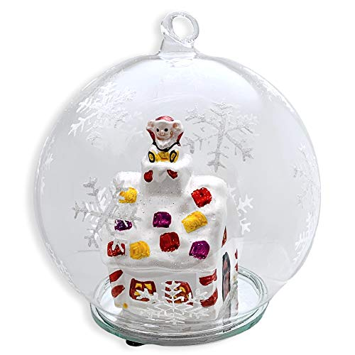 BANBERRY DESIGNS Lighted Christmas Ball Ornament - Snowglobe Like LED Glass Globe Ornament with Santa on a Rooftop - Whimsical House and White Glittery Snowflakes
