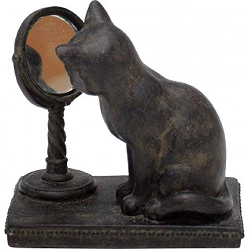 Set of 2 Cat with Mirror Figurines 3.5