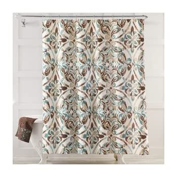 brown and white shower curtain. Seafoam Green Brown Tan Medallion Fabric Shower Curtain Amazon com