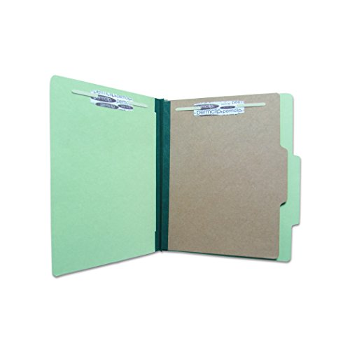 Folder, Green, Letter size, 4 Permclip fasteners, 1 natural Kraft divider, 25 pt, Top tab (20/Box)