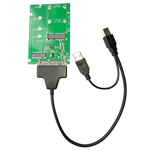 Aneew M.2 or MSATA to USB or SATA 3.0 Adapter, 2-in-1 Converter Reader Card with Cable, Support Mini SATA or Ngff B Key SSD by Aneew