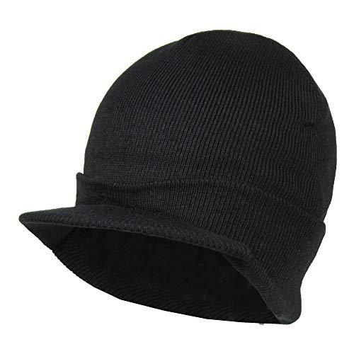 Black Winter Knit Visor Beanie Hat for Men, Snug Fit Jeep Ski Cap - Acrylic