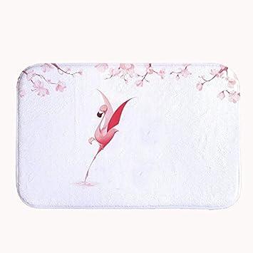 Rioengnakg Pink Dancing Flamingo Weiss Badteppich Coral Fleece