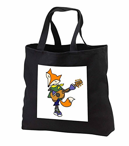 Price comparison product image All Smiles Art Music - Funny Cool Red Fox Playing the Guitar - Tote Bags - Black Tote Bag JUMBO 20w x 15h x 5d (tb_245449_3)
