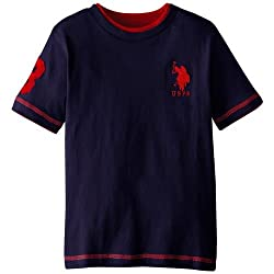 U.S. Polo Assn. Little Boys' Short Sleeve Double Crew T-Shirt with 3-D Pony