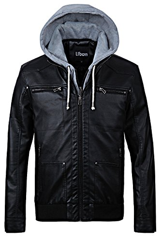 Ubon Men's Moto Faux Leather Jackets With Hood(Black,US- M/(ASIAN-L) (Letterman Jackets With Hood compare prices)