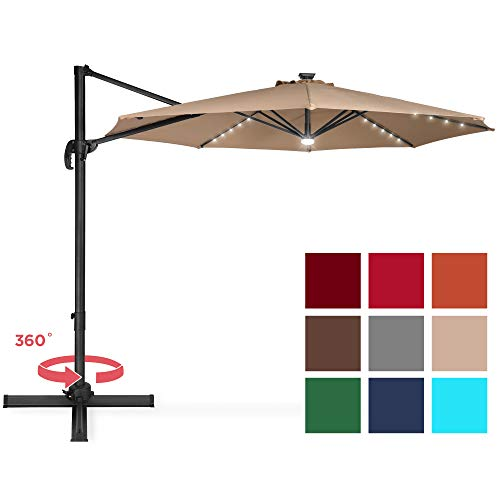 Best Choice Products 10ft Solar LED 360 Degree Rotating Cantilever Offset Patio Umbrella w Easy Tilt – Tan