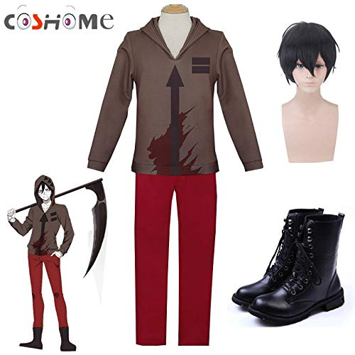 HAOMAO Me Anime Angels Death Zack Isaac Foster Cosplay Costume Top Pants Shoes Wigs ()