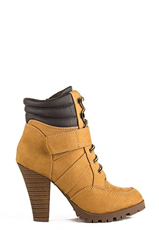 Soda Lance-H All-Weather Lace Up Heel Bootie