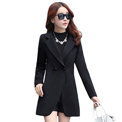 YuanDian Femmes Printemps Automne Casual Midi Longue Couleur Solide Slim Fit Blazers Veste Revers lgant d'affaires Doux Tailleur Trench Coat Manteau Noir