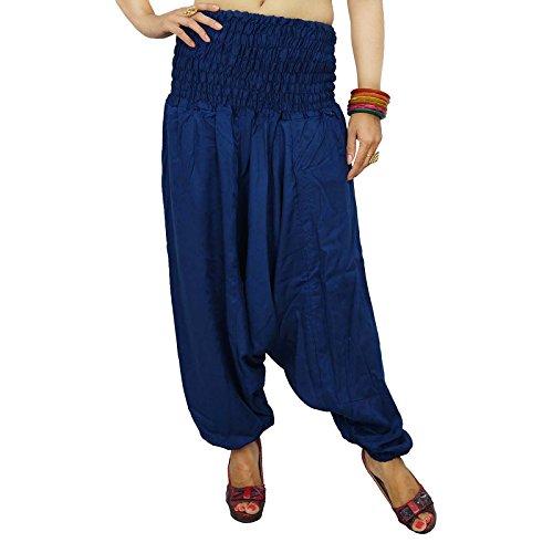 cintura elástica pantalones harén pantalones BoHo gitanas mujeres llevan los pantalones bohemios pijamas de playa Bleu marin