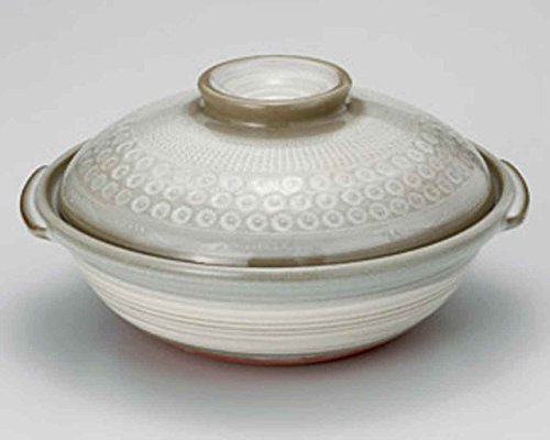 Mishima for 2-3 persons 7.9inch Donabe Japanese Hot pot Grey Ceramic Made in Japan by Watou.asia
