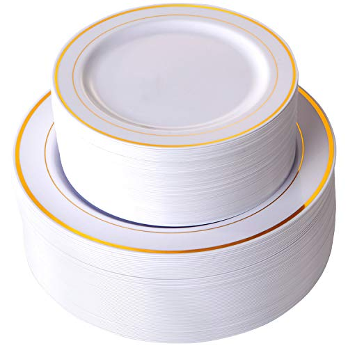 102 Pieces Gold Plastic Plates, White Party Plates, Premium Heavyweight Disposable Wedding Plates Includes: 51 Dinner Plates 10.25 Inch and 51 Salad / Dessert Plates 7.5 -
