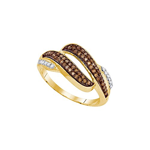 Bar Channel Diamond Band - Size - 8.5 - Solid 10k Yellow Gold Round Chocolate Brown And White Diamond Channel Set Curved Wedding Band OR Fashion Ring (1/3 cttw)