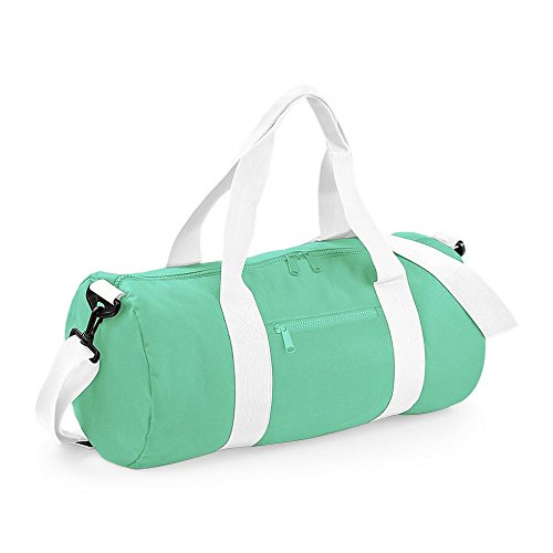 Bagbase 20 Liters Plain Gym Travel Outdoor Barrel Duffle Bag Ming Green/White