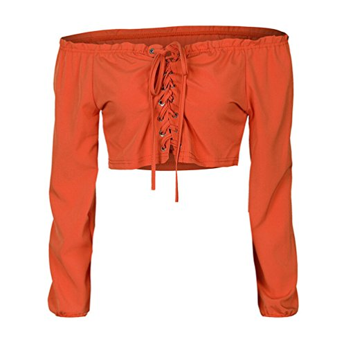 Sexy Women's Off Shoulder Bandage Criss Cross Strappy Long Sleeve Crop Top Blouse Strapless Lace Up Crop Top (S, - Orange Criss Cross