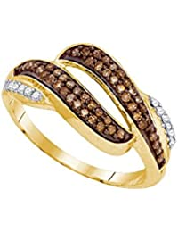 Solid 10k Yellow Gold Round Chocolate Brown And White Diamond Channel Set  Curved Wedding Band OR