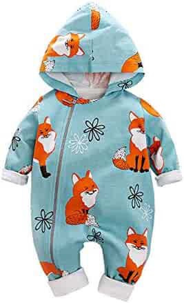 Rompers Footies & Rompers Timall Infant Newborn Boys Cartoon Print Jumpsuit Baby Long Sleeve Hooded Rompers 0-18M