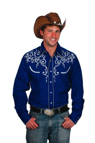 Mens Cotton Blend Retro Leaf Embroidery Western Shirt