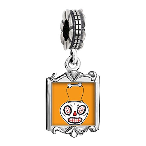 Halloween Jack O lantern clipart Photo Family Mom & Baby Girl & Dad Dangle Bead Charm Bracelet