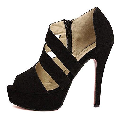 Minetom Sexy Chaussures à Talon Haut Femmes Ete Strappy Sandales Chaussons Club de Parti de Mariage Escarpins Noir 2 yttGkT