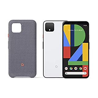 Google Pixel 4 - Clearly White 128GB - Unlocked with Pixel 4 Case, Sorta Smokey, Gray (GA01281)